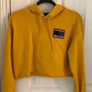 Mustard yellow LA cropped hoodie